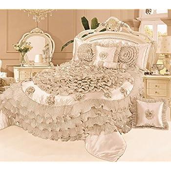 Tache 6 Piece Frosted Fields Faux Satin Luxury Comforter Set, Queen