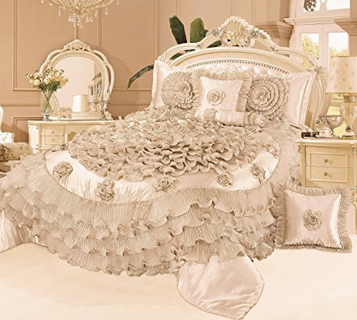 Tache 6 Piece Frosted Fields Faux Satin Luxury Comforter Set