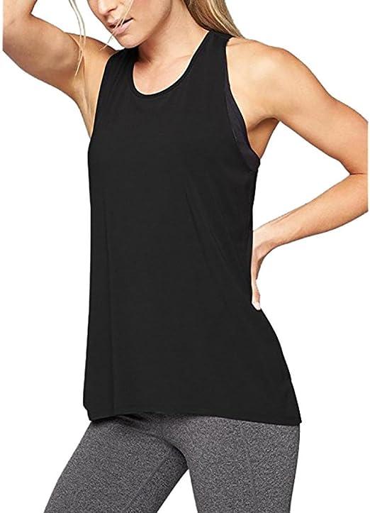 Camiseta de tirantes para mujer,Camisa de yoga con espalda cruzada para mujer Camiseta sin mangas activa sin espalda con entrenamiento deportivo Racerback LMMVP (M, Negro): Amazon.es: Hogar