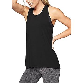 Camiseta de tirantes para mujer,Camisa de yoga con espalda cruzada para mujer Camiseta sin mangas activa sin espalda con entrenamiento deportivo Racerback ...