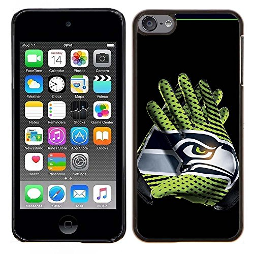 iPod Touch 5 Case, iPod Touch 6 Cases, Seahawks Logo 07 Drop Protection Never Fade Anti Slip Scratchproof Black Hard Plastic Case