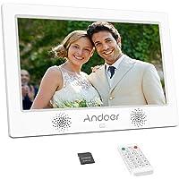Andoer Cadres Photo Numériques, 10.1Pouce Cadre Numériques en Alliage d'aluminium 1024x600 HD LCD Haute résolution avec 8 GB Carte mémoire avec télécommande (10.1-Blanc)