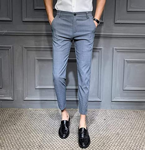 Qingsb Hombres Pantalon De Vestir Plaid Business Casual Slim Fit Hasta El Tobillo Classic Vintage Check Traje Pantalones Boda 28 34 Gris Claro 34 Amazon Es Hogar