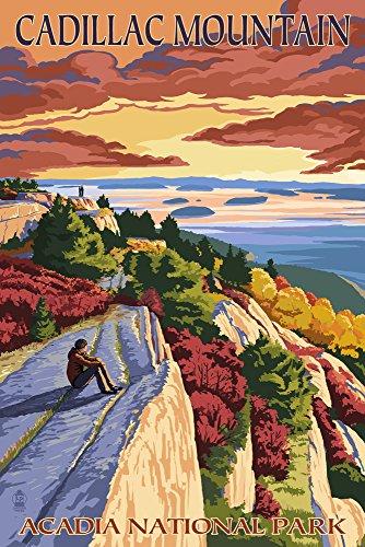 Acadia National Park, Maine - Cadillac Mountain (9x12 Art Print, Wall Decor Travel Poster) Cadillac Mountain Acadia National Park