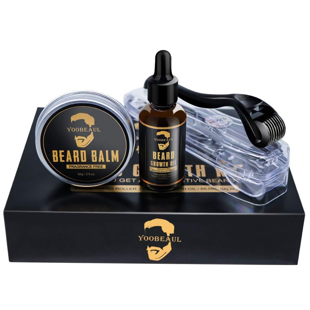 Beard Growth Kit, Beard Derma Roller+ Beard Growth Serum Oil+ Beard Balm, Facial Hair Growth Kit, Derma Roller for Men, Beard Roller Kit, Perfect Gift for Men