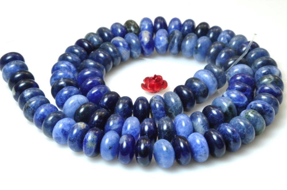 jennysun2010 5x8mm Natural Lapis Lazuli Gemstones Rondelle Spacer Loose Beads 15.5 inches 1 Strand for Necklace Earrings Jewelry Making Crafts Design