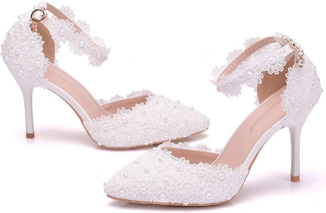 AIni Zapatos De Tac/óN para Mujer Moda Sandalias Tacones Altos De Encaje Boda Tac/óN De 9cm Zapatos De Vestir De Flores Fiesta Sandalias De Strass con Hebilla Blanco RosaDia De Miembro Oferta 34-42