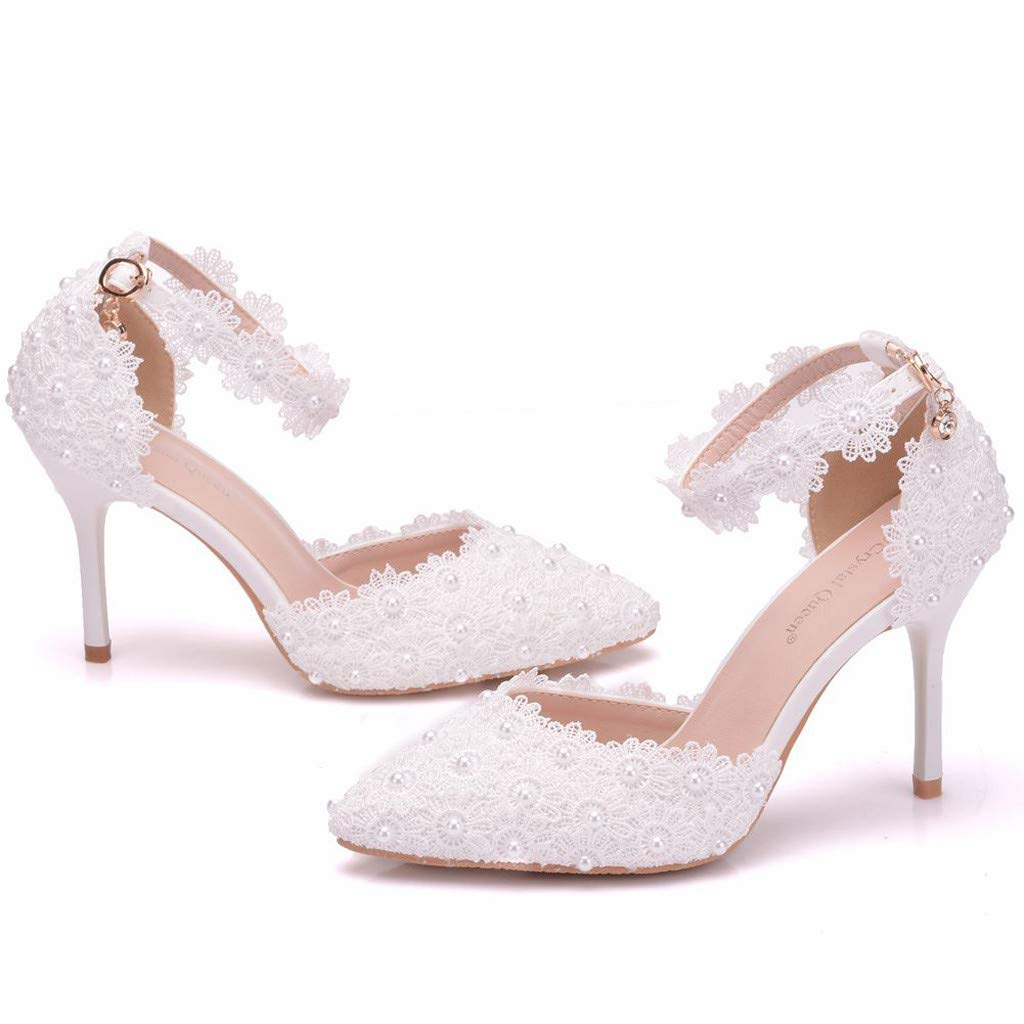 Sandals for Women THENLIAN Women Wild Rhinestone Wedding Stiletto Sandals High Heels Pointed Toe Thin Sandals(42, White)
