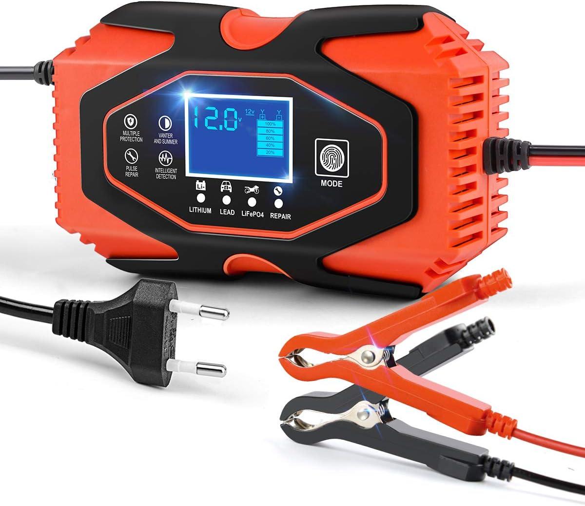 AOLEAD Cargador Baterias Coche de Moto 6A 12V/24V Mantenedor Bateria Coche con Pantalla LCD y Botón de Táctil para Automóvile, Motocicleta ATV