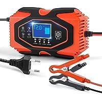 AOLEAD Cargador Baterias Coche de Moto 6A 12V/24V Mantenedor Bateria Coche con Pantalla LCD y Botón de Táctil para…
