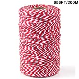 Bakers Twine,1 Roll 200M Black and White Cotton Twine Packing String for Gardening, Decoration, Tying Cake and Pastry Boxes, Silverware, DIY Crafts & Gift Wrapping,Art and Crafts (2mm/656Feet)