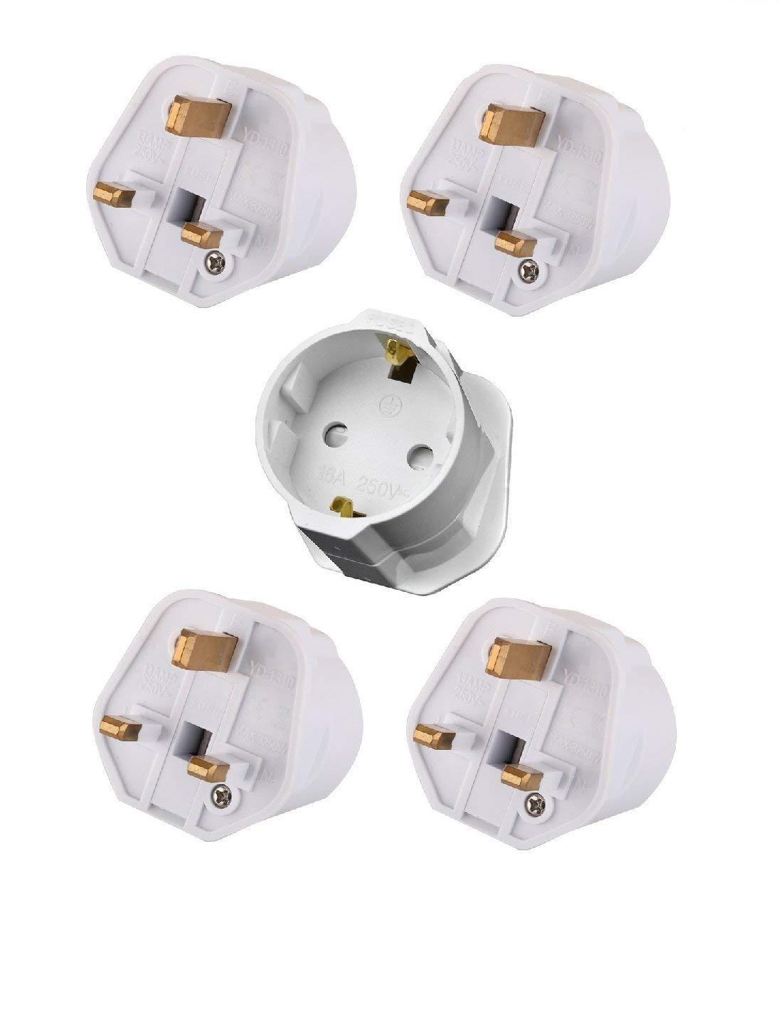 Tech Traders Ttschuko europea Euro UE Schuko 2UK 3pin Plug caricabatteria da viaggio adattatore di rete (confezione da 5), bianco, set di 5pezzi MEERO Ltd