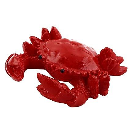 sourcing map Tanque de Peces de Acuario Submarino de cerámica de diseño de Cangrejo Rojo Ornamento