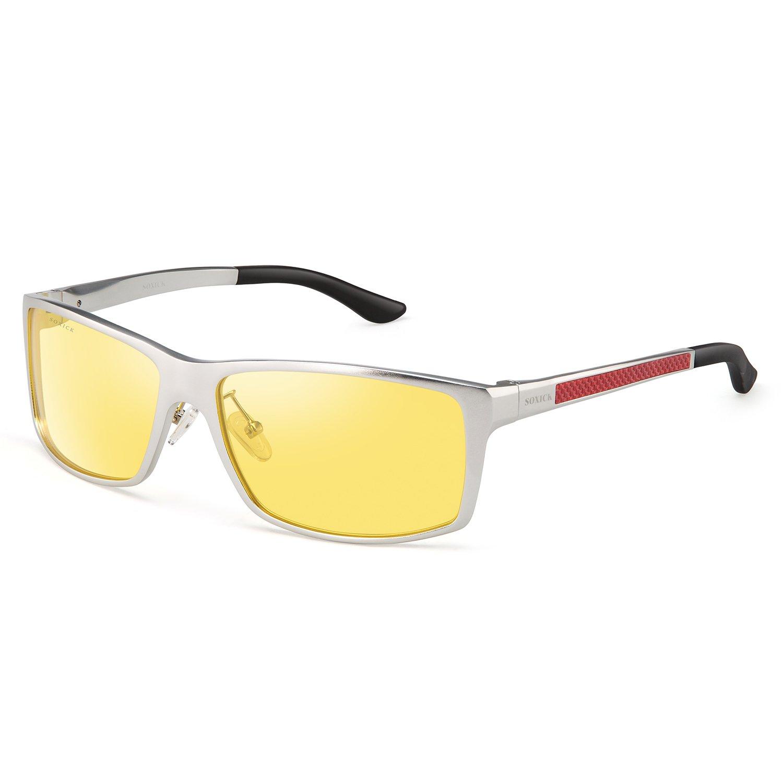 SOXICK HD Night Vision Driving Anti-Glare Glasses for Men Women Rainy Safe Polarized Fashion Sunglasses (Silver)