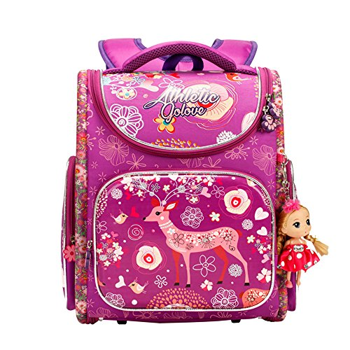 Price comparison product image Golovle School Bag For Girls Deer Cartoon Print Large Capacity With Adjustable Straps Waterproof