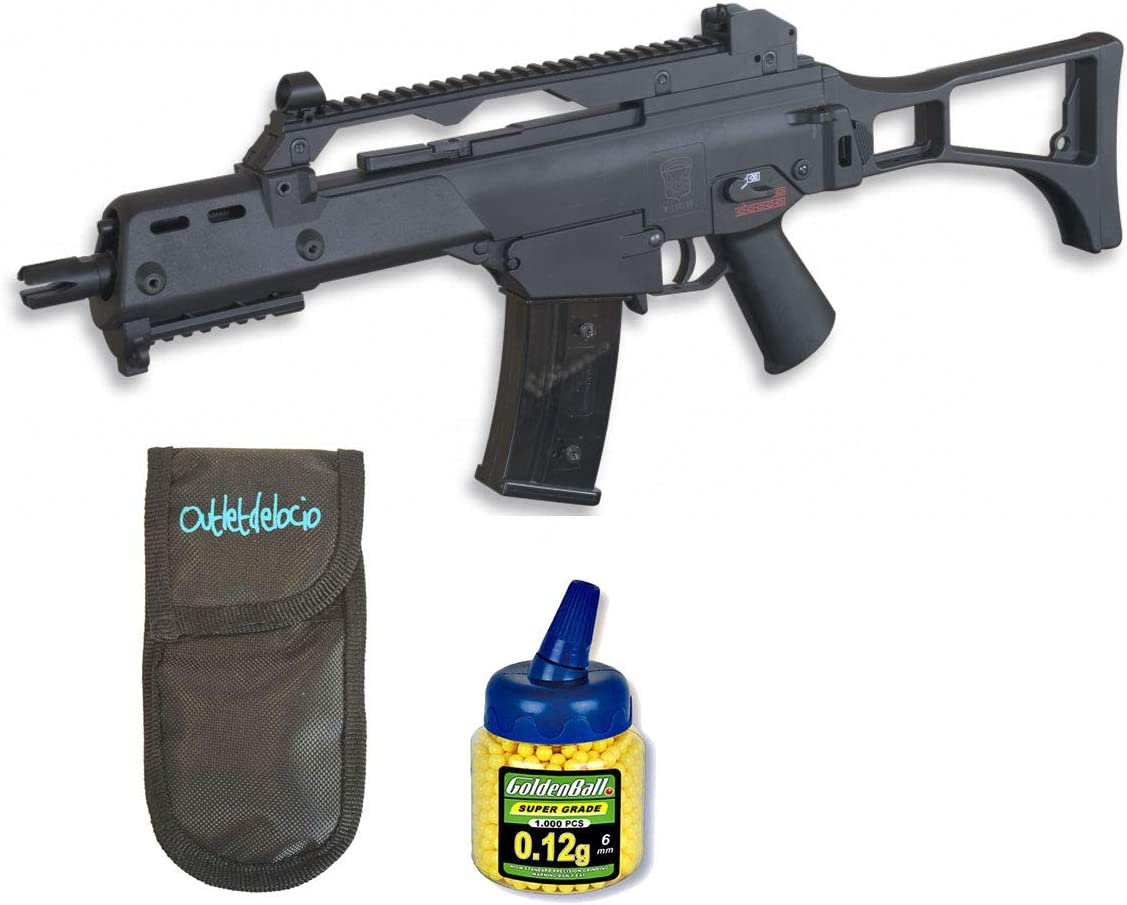 Outletdelocio. Pack Rifle Airsoft G36C AEG Electrico. Calibre 6mm. + Funda Portabalines + Biberon 1000 Bolas. 23054/21993