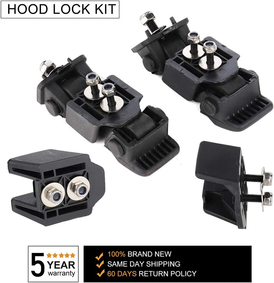 WHEELTECH Black Stainless Steel Latch Locking Hood Catch Anti-Theft Hood Catches fit for 2007 2008 2009 2010 2011 2012 2013 2014 2015 2016 2017 2018 Jeep Wrangler JK JKU 2Pcs//Set+Brackets