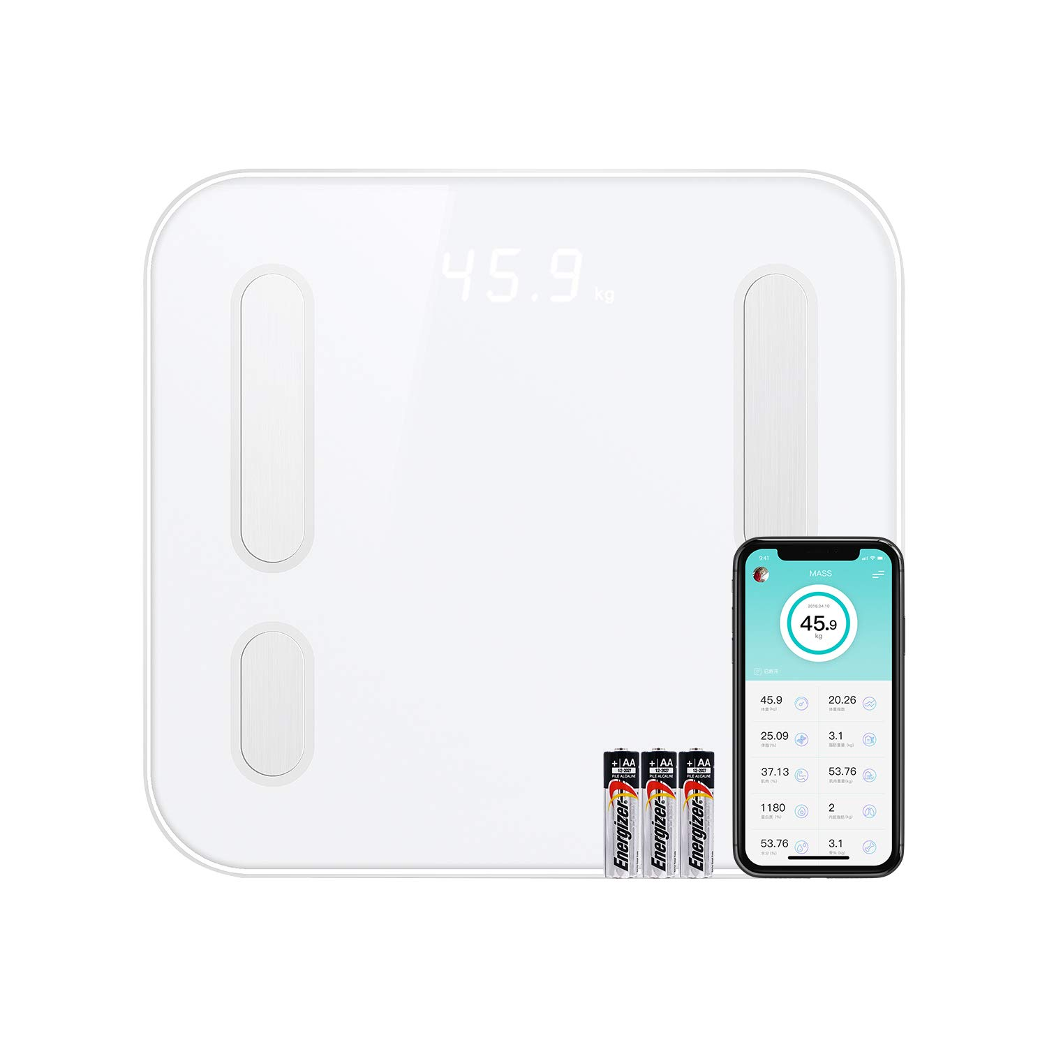 CooSpo Smart Scale with Bluetooth - BMI Composition Analysis with Smart App - Tracks up to 8 Users by CooSpo