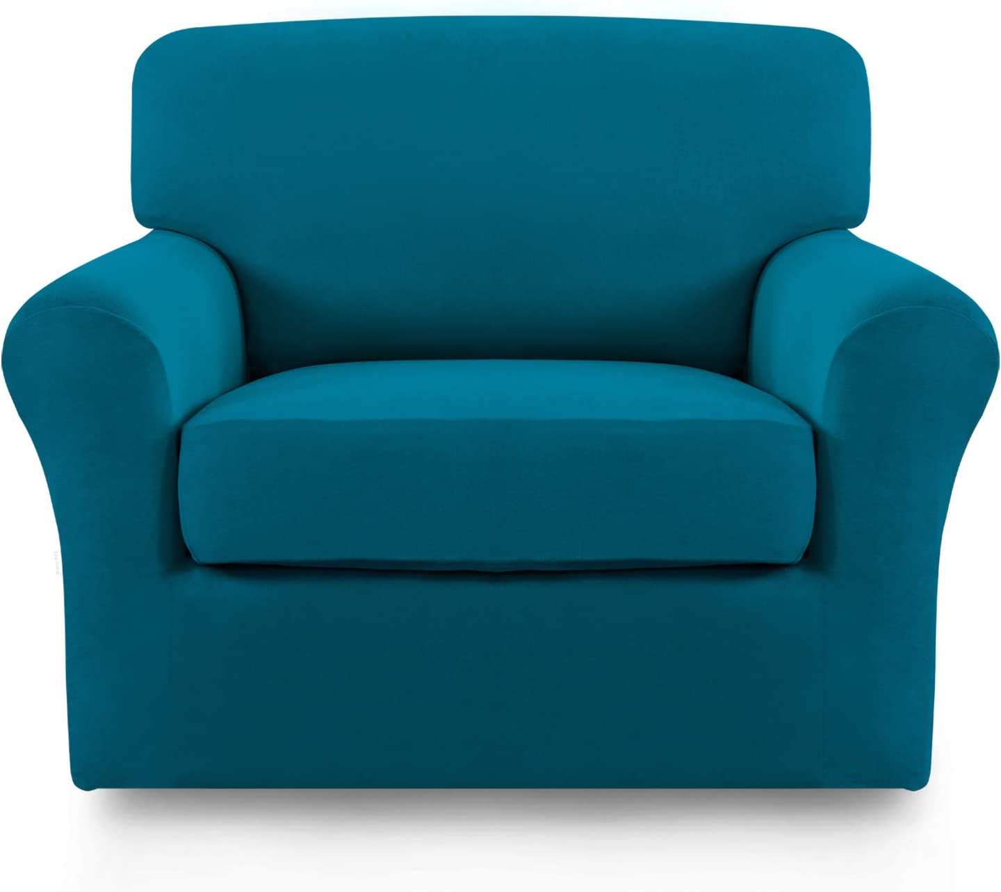 Easy-Going 2 Pieces Microfiber Stretch Couch Slipcover – Spandex Non-Slip Soft Fitted Sofa Couch Cover, Washable Furniture Protector with Anti-Skid Elastic Bottom for Kids (Chair, Peacock Blue)