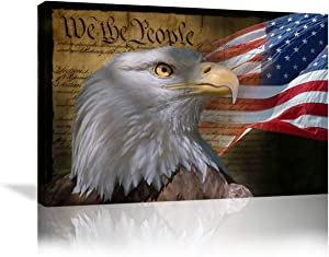Urttiiyy American Flag Wall Art Bald Eagle Poster Painting on Canvas Patriotic Concept Wall Decor Independence Day Home Decor for Living Room Office Framed Ready to Hang