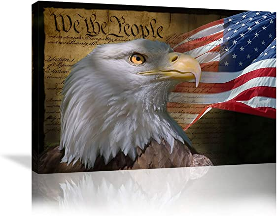 Urttiiyy Bald Eagle Wall Decor American Flag Wall Art Painting on Canvas Patriotic Concept Wall Art US Declartion of Independence Poster Home Decor