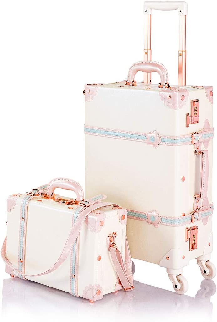 COTRUNKAGE Small 20 Vintage Luggage Set 2 Pieces Carry On Suitcase for Womens 20 13 , Cream White