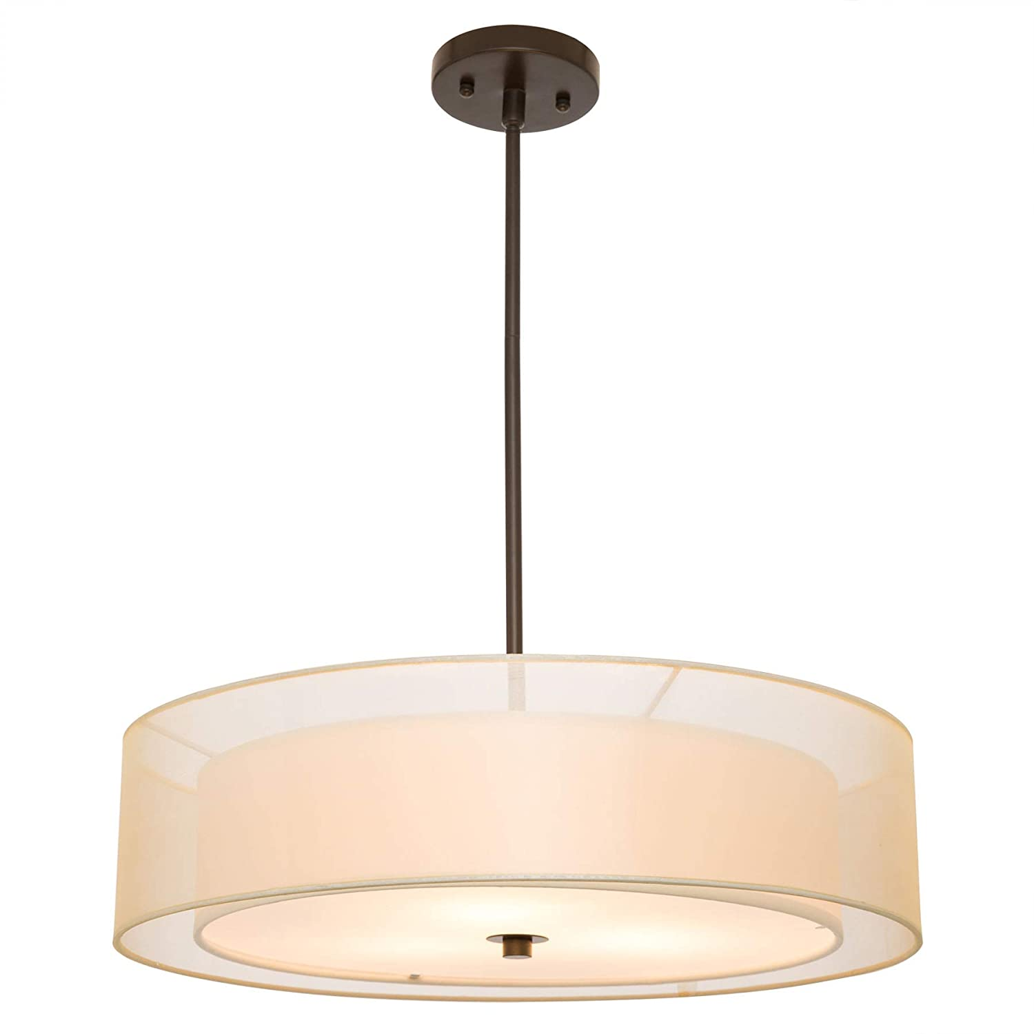 CO-Z 3 Light Double Drum Pendant Light, Antique Bronze Convertible Semi-Flush Mount Drum Ceiling Light Fixture for Kitchen Island Dining Table Bedroom Entry Bar, Modern Hanging Lights Chandelier