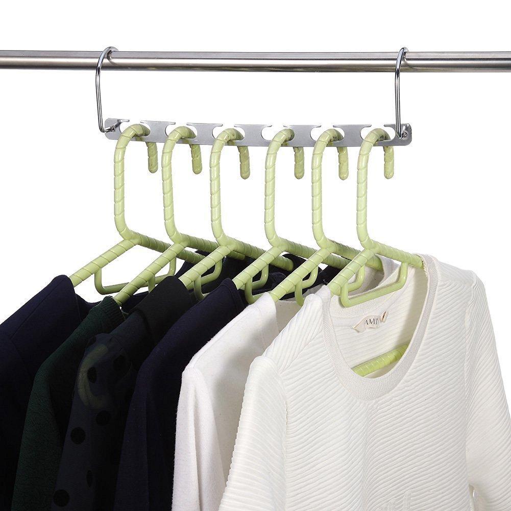 organizador de ropa perchas verticales para armario ahorro de espacio, TOPIND Perchas de metal de acero inoxidable para ahorrar espacio