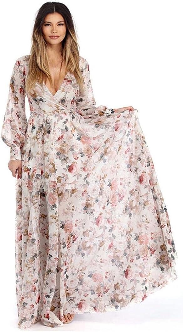 AMUSTER.DAN Damen V-Ausschnitt Bohemian Kleid Frauen Langarm Chiffon Blumen Lang Maxi Kleid
