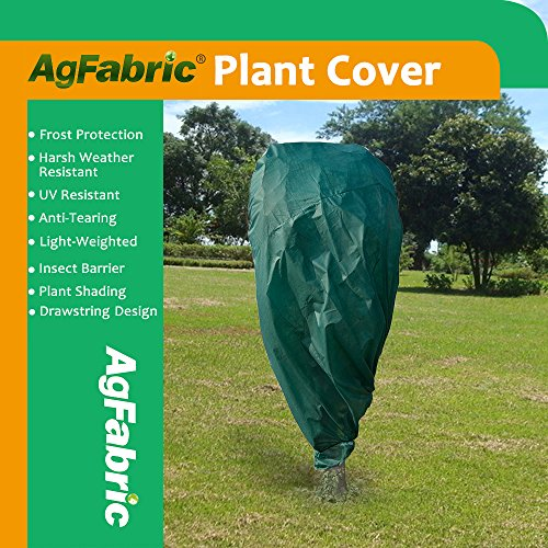 "Agfabric Plant Cover Warm Worth Frost Blanket – 0.95 oz Fabric of 84""x72"" Shrub Jacket, Rectangle Plant Cover for Season Extension&Frost Protection,Dark Green"