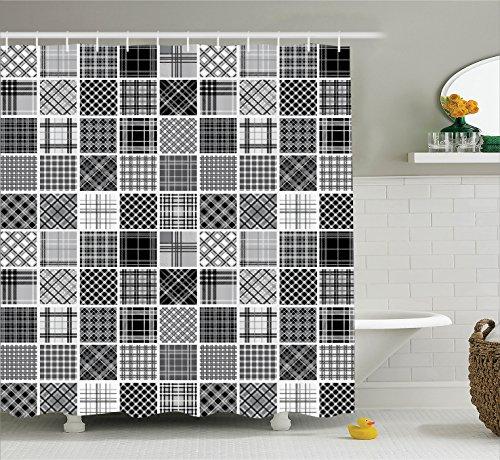 Ambesonne Grey Decor Shower Curtain Set, Mixed Checkered Squ