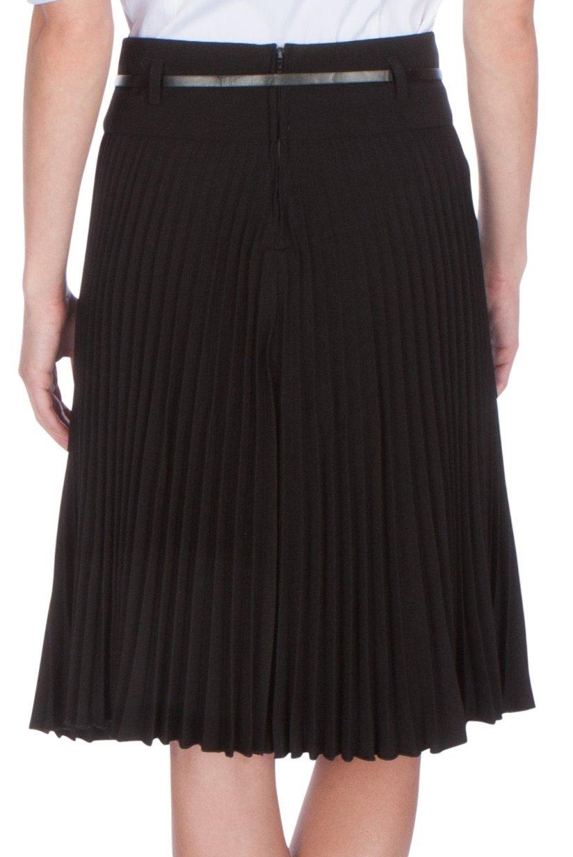 Sakkas FV3543 Knee Length Pleated A-Line Skirt with Skinny Belt - Black/X-Large by Sakkas (Image #2)