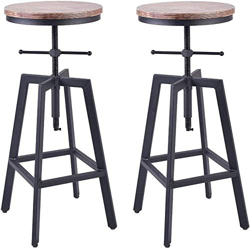 BOKKOLIK Set of 2- Industrial Bar Stool-Swivel Wood Seat-Vintage Counter Dining Chair-Pub Height Adjustable 25-29.5