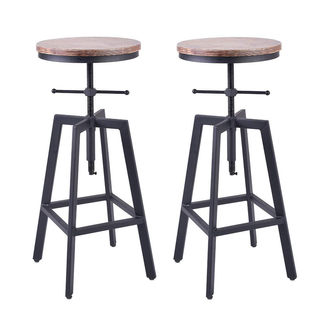 "BOKKOLIK Set of 2- Industrial Bar Stool-Swivel Wood Seat-Vintage Counter Dining Chair-Pub Height Adjustable 25-29.5"""