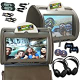 9inch tv headrest for cars - 2x Autotain HERO-Y 9 inch Digital Touch Screen Car TV Headrest DVD Player Monitor GREY GRAY