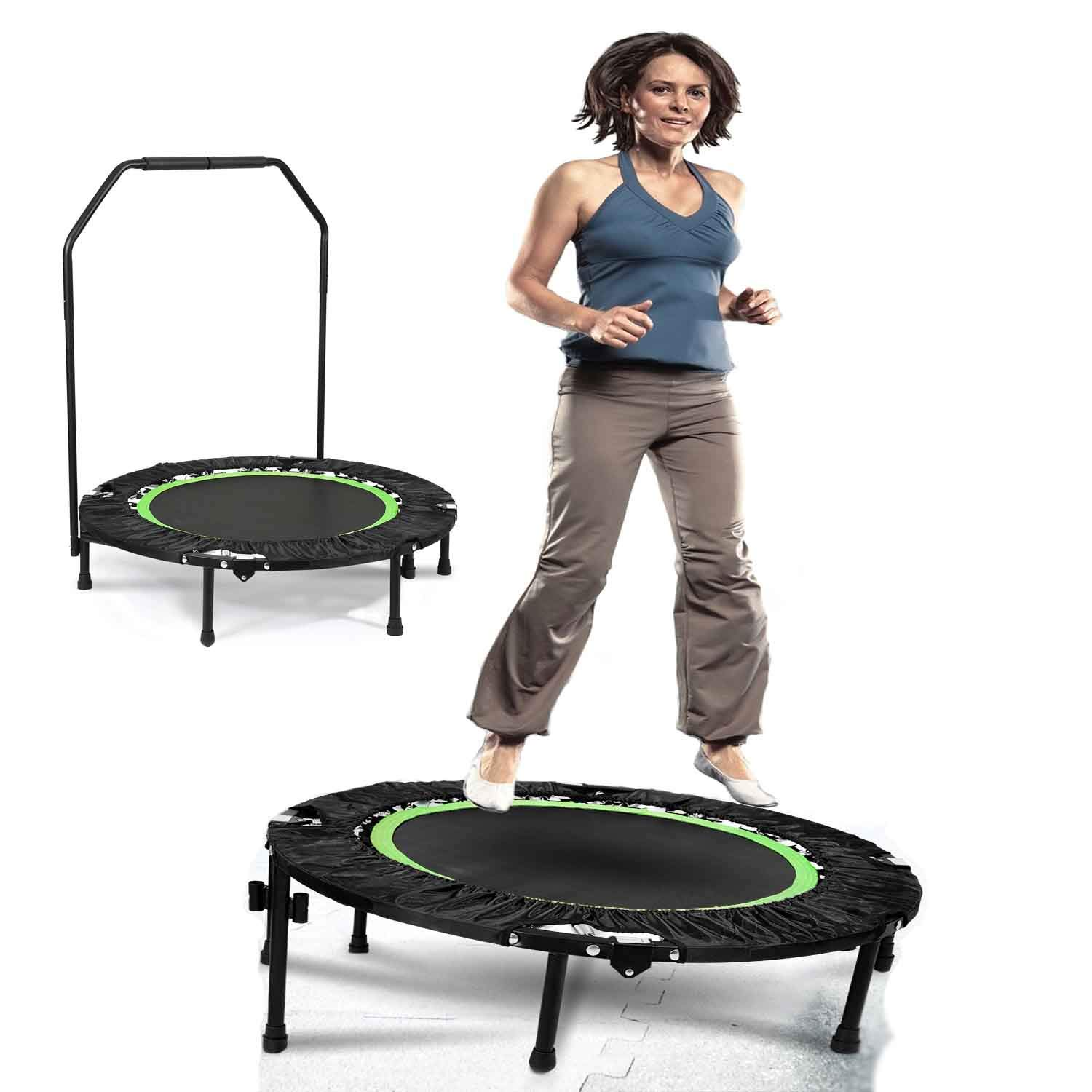 shaofu Mini Adult Trampoline Indoor Gymnastic Exercise Rebounder Trampolines 300 lbs with Handle (Green - Adjustable Legs) by shaofu