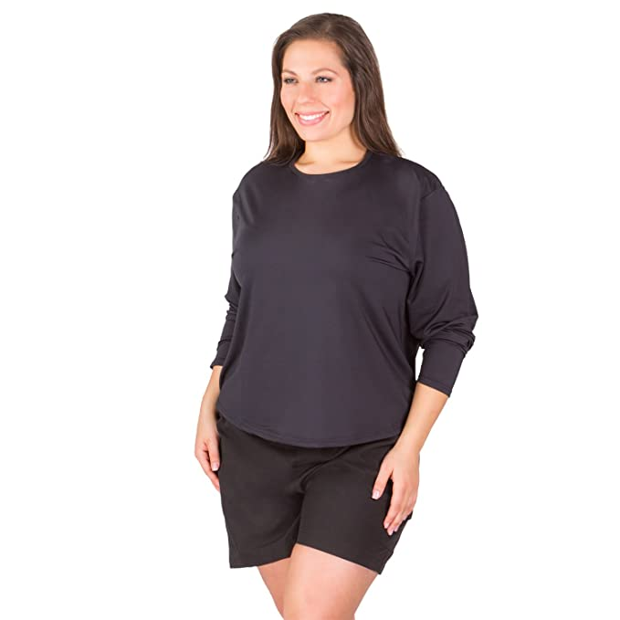 a462fca6968 Women s Plus Size Rashguard Long Sleeve Top - Black 1X at Amazon ...