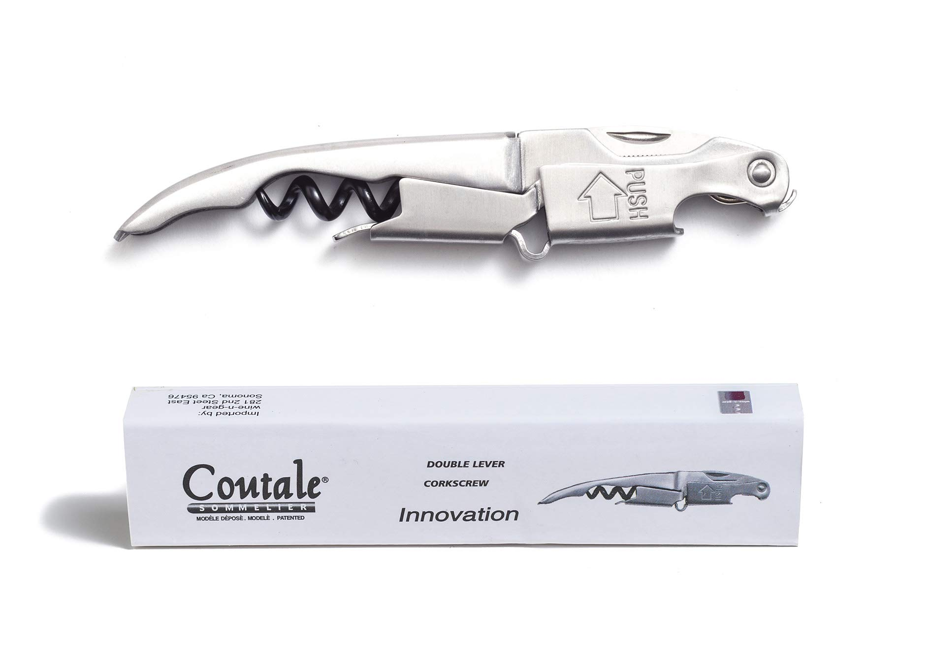 Innovation Stainless Steel By Coutale Sommelier - The French Patented Spring-Loaded Double Lever Waiters Corkscrew and Wine Bottle Opener