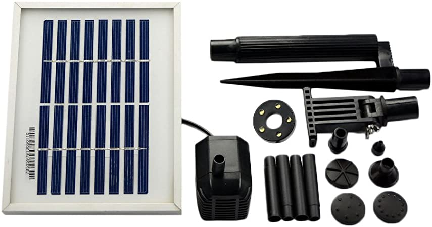 ASC 1.6 Watts Solar Water Pump Battery//Timer Kit with LED Lights Garden Pond