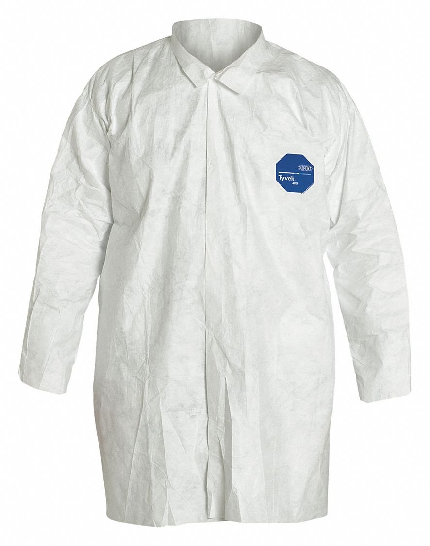 Dupont White Tyvek 400 Disposable Lab Coat, Size: M M White Tyvek(R) 400 TY210SWHMD003000-1 Each by DuPont (Image #1)