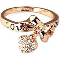 Acefeel Gold Color Bowknot and Crystal Heart Charm Ring Engraved with Love You Promise Engagement Ring
