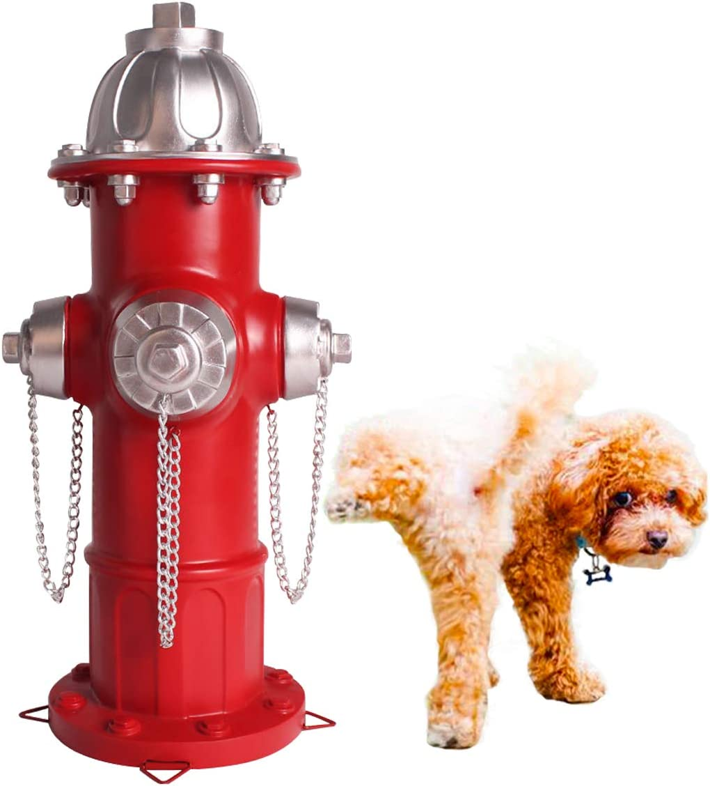 Dog Hydrant Puppy Training Pee Post Statue Fire Hydrant Statue with 4 Stakes for Outdoor Garden Patio Yard Ornament Decorations 14.5 Inches(Only Suitable for Puppies)
