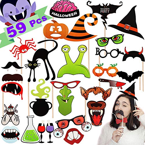 Halloween Decoration Clearance Winmayer 59 Pack Halloween Photo Booth Props Kit Party Favor Supplies Sets,Scary Costume Props with Beard, bat, pumpkin, vampire,Halloween Decor Party Booth Assorted