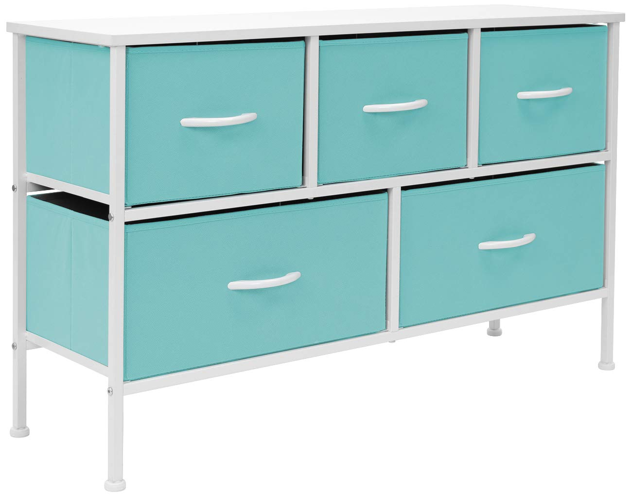 Sorbus Dresser with 5 Drawers - Furniture Storage Chest for Kid's, Teens, Bedroom, Nursery, Playroom, Clothes, Toys - Steel Frame, Wood Top, Fabric Bins (Pastel Aqua)