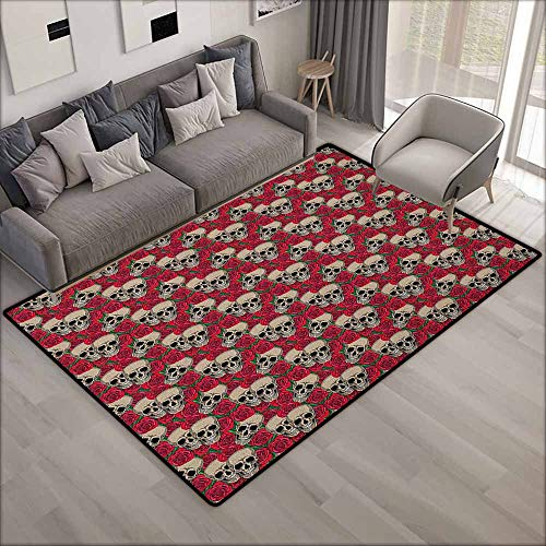 Non-Slip Rug,Rose Graphic Skulls and Red Rose Blossoms Halloween Inspired Retro Gothic Pattern,Extra Large Rug,5'6