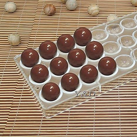 Inyección de plástico duro Semi esfera molde para Chocolate PC policarbonato Chocolate Mold: Amazon.es: Hogar