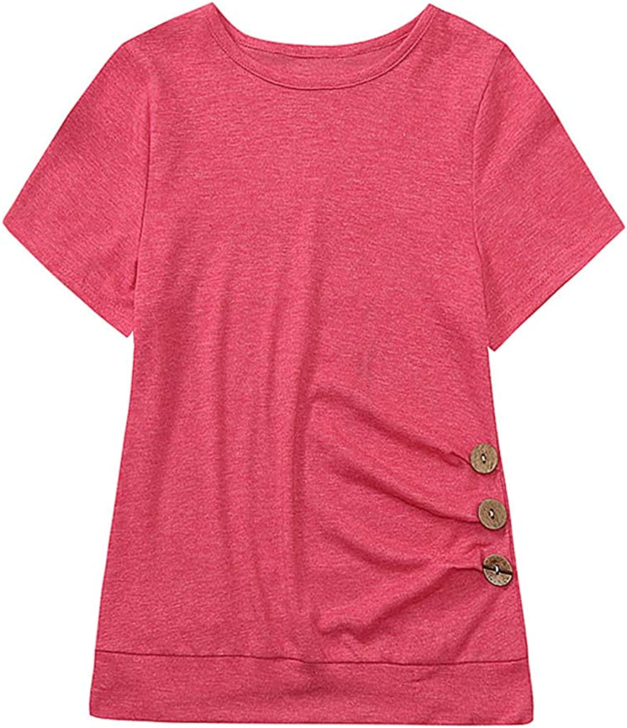 TIANRUN Children Teens Kids Girls Casual Short Sleeve Loose Button Trim Blouse Solid Color Round Neck Tunic T-Shirt