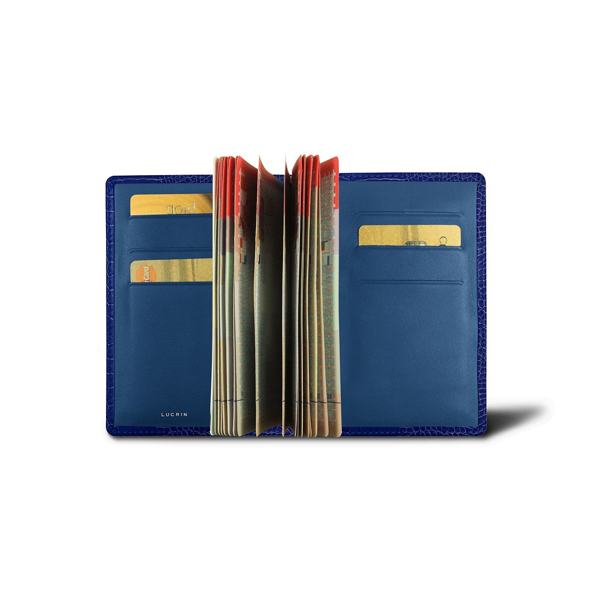 Lucrin - Luxury Passport Holder - Royal Blue - Crocodile style calfskin by Lucrin