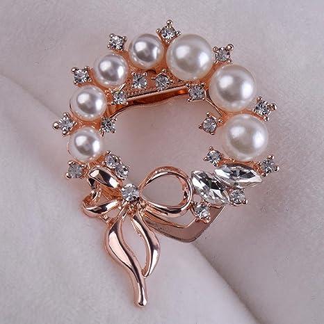 Ludage Adorno de hebilla de broche de la perla diamante pin broche seda toalla