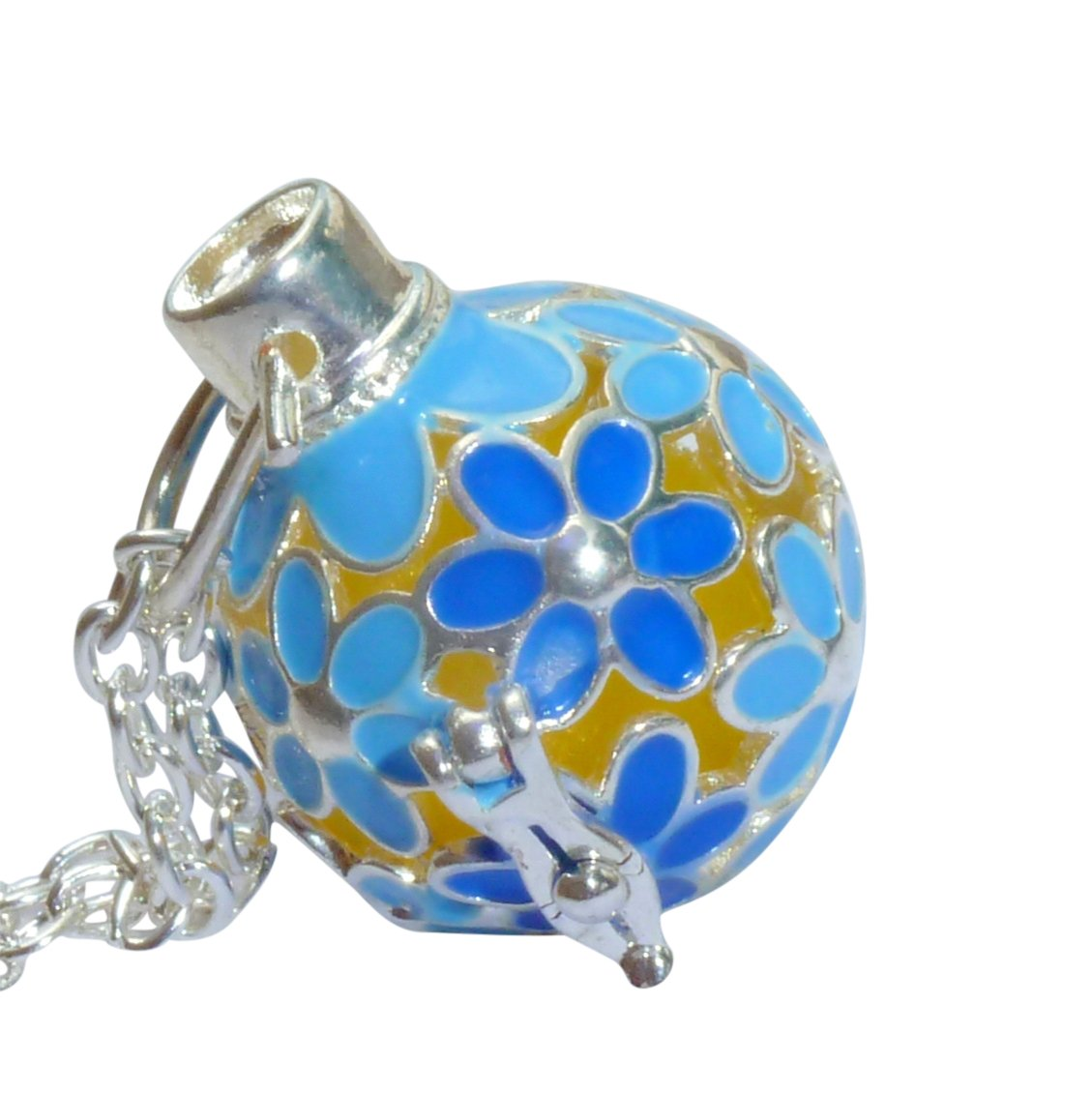 UMBRELLALABORATORY Your Personal Stylish Essential Oil Necklace Steampunk Blue Flowers d1 0